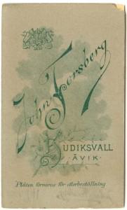 Johan Forsberg, Hudiksvall, baksida (Hälsinglands museum)