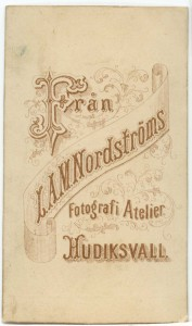 L.A.M. Nordström visitkort Typ 3a, bak (P310_0002R).