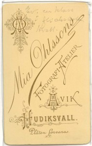 Mia Ohlsson visitkort Hudiksvall, bak (privat).