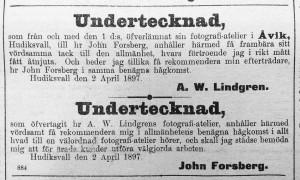 Johan Forsberg annons i Hudiksvallsposten den 8 april 1897.