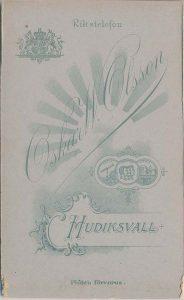 Oskar W. Olsson visitkort Hudiksvall, bak (P313_0004R).