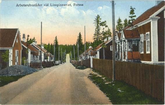 """Vykort """"Arbetarebostäder vid Linspinneriet, Forssa"""", foto: Sven Th. Sätervall."""