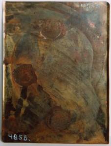 Baksida på en omonterad daguerreotyp plåt, 108 x 81 mm (Hälsinglands Museum, HM4858)