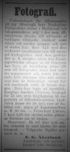 Annons E.G. Åkerlund, Hudiksvallsposten den 29 juli 1865