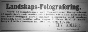 Annons Edvard Möller, Hudiksvallsposten den 28 april 1866