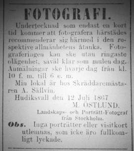 Annons M. Östlund, Hudiksvallsposten den 13 juli 1867