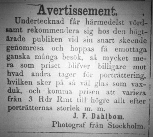 Annons J.F. Dahlbom, HW 16 juli 1859