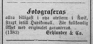 Sehlander & Co. annons i Hudiksvallsposten 17 september 1881.