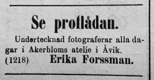Erika Forssman annons i Hudiksvallsposten den 21 juni 1884