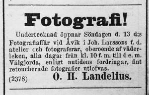 Hudiksvallsposten den 12 oktober 1889.
