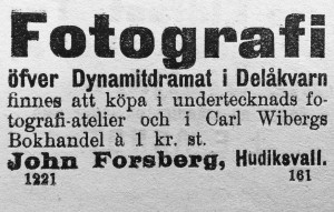 Johan Forsberg, Hudiksvallsposten den 6 maj 1897.