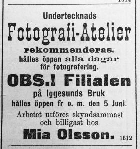 Mia Ohlsson annons i Hudiksvallsposten 9 juni 1898
