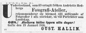 Norrlandsposten den 20 januari 1886.