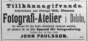 Hudiksvallsposten den 19 maj 1900.