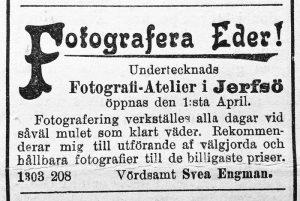Svea Engman annons i Ljusdals tidning den 1 april 1904.