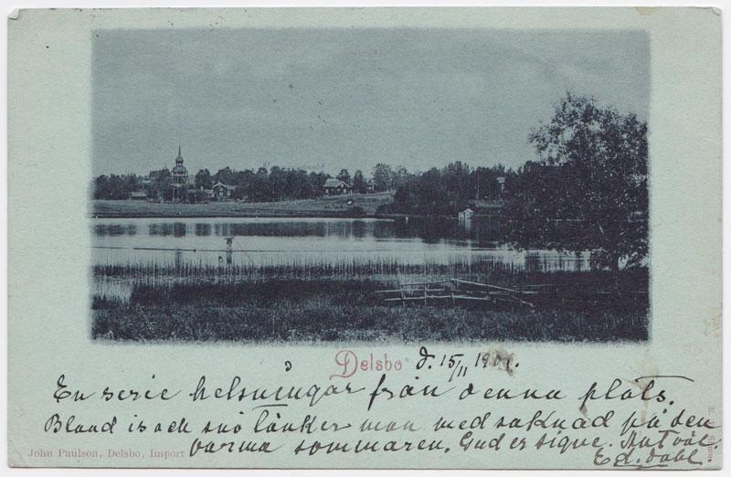 """Vykort """"Delsbo"""", 1901, John Paulson (V076)."""