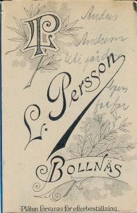 L. Persson visitkort Bollnäs, bak (P201_0001R).