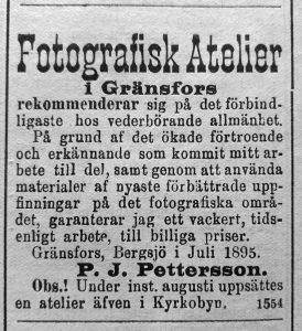 Annons i Hudiksvallsposten 10 juli 1895.