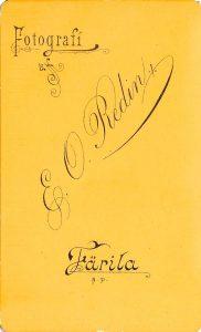 E.O. Redin visitkort, bak (P118_0004R).