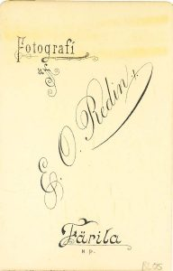 E.O. Redin visitkort, bak (P201_0003R).
