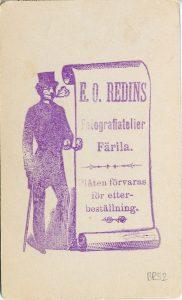 E.O. Redin visitkort, bak (P213_0005R).