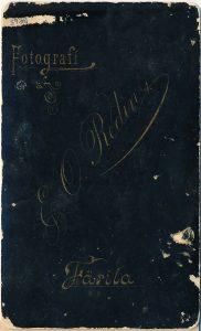 E.O. Redin visitkort, bak (P214_0008F).