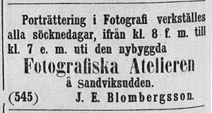 J. E. Blombergsson annons i Helsingen den 15 juli år 1865.