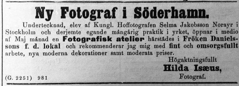 Söderhamns Tidning den 10 maj år 1893.