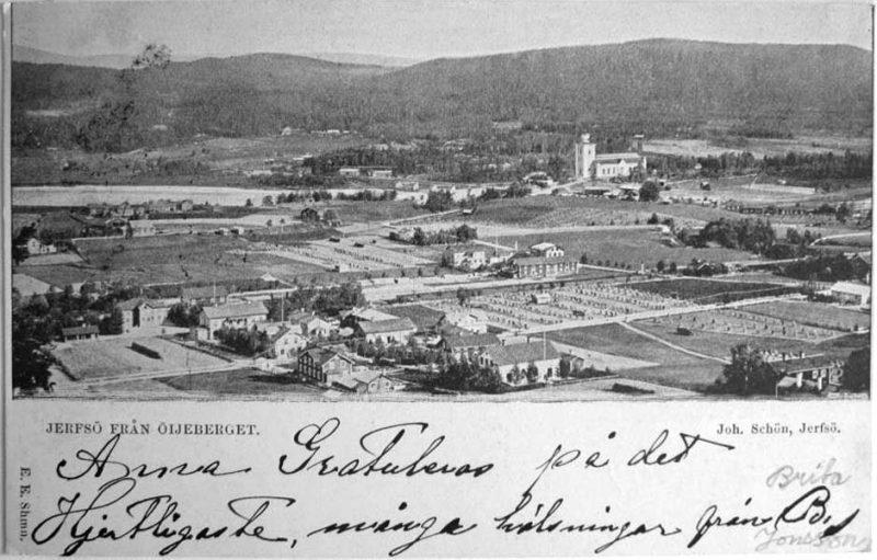 "Vykort ""Jerfsö från Öjeberget"", Joh. Schön, poststämplat 1901 (privat)."