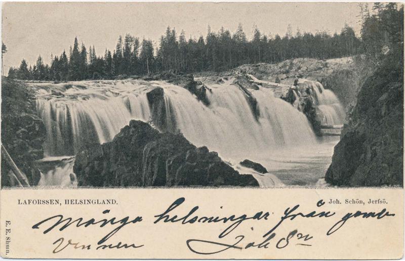 """Vykort """"Laforssen, Helsingland"""", Joh. Schön, poststämplat 1902 (V035)."""