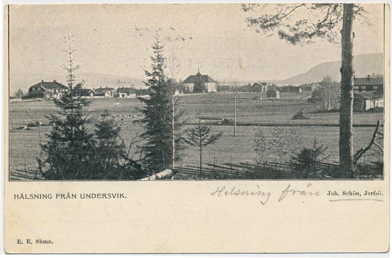 """Vykort """"Hälsning från Undersvik"""", Joh. Schön, Jerfsö, poststämplat 1903. Kortet verkar vara avsänt av Johan Schön själv (V060)."""