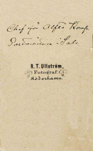R. T. Ullström visitkort Söderhamn, baksida.