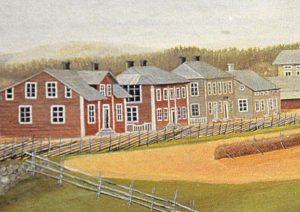 Detalj av målning nedan. Carl Eriks gård är den andra från vänster med takfönster.