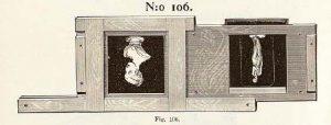 Placering av skioptikonbilden i en hållare, Hasselblad priskurant 1896, s. 108.