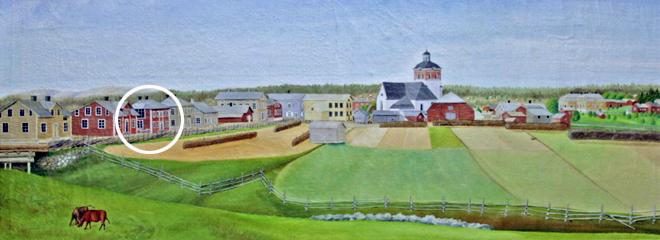 Målning av Bollnäs ca. 1875, Carl Eriks gård inringad, okänd målare (Bollnäs museum).