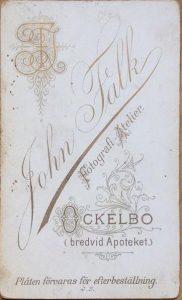 John Falk visitkort Ockelbo, framsida (privat).