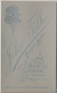 John Falk visitkort Ala-Ljusne, bak (P319_0002B).