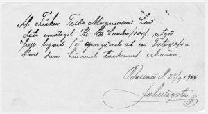 Kvitto på betalning för en fotografikurs hos John Wigstén 1904 (privat).