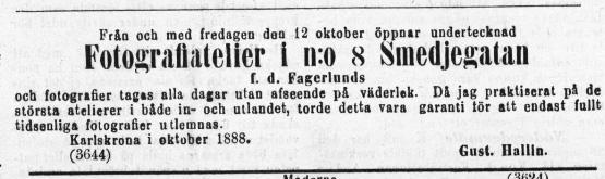 Karlskrona Weckoblad den 11 oktober 1888.