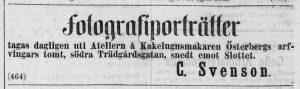 Annons C. Svenson i Norrlandsposten den 4 mars 1870.