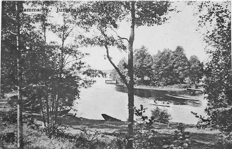 """Vykort """"Hammarby. Jungfruholmen"""", förlag A. V. Ljunggren, poststämplat 1909."""