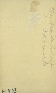 Clara Hollander visitkort Gefle, bak (XLM.U03093).