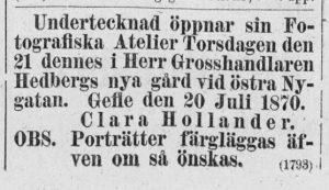 Clara Hollander annons i Norrlandsposten den 20 juli 1870.