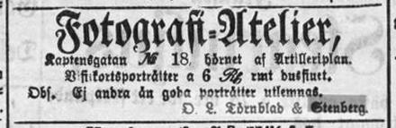 O. L. Törnblad & Stenberg annons i Stockholms Dagblad den 25 november 1863.