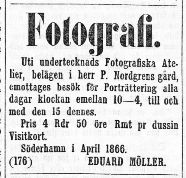 Eduard Möller annons i Nya Helsingen den 7 april 1866.