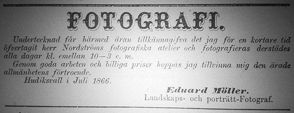 Edv. Möller annons i Hudiksvallsposten den 21 juli 1866.