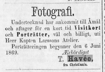 T. Havée annons i Åmåls Weckoblad den 2 juni 1869.