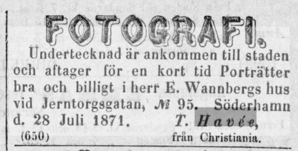 T. Havée annons i Nya Helsingen den 29 juli 1871.