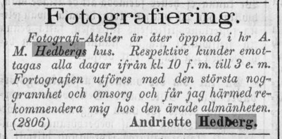 Andriette Hedberg annons i Norrlandsposten den 23 oktober 1871.