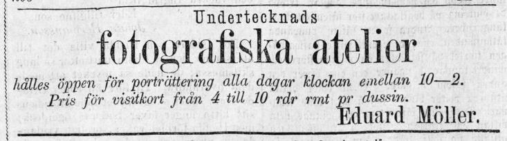 Eduard Möller annons i Hvad Nytt den 7 november 1872.